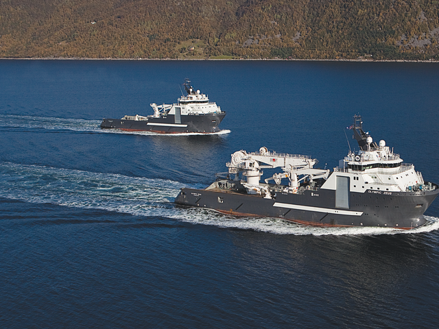 The sister vessels 'Olympic Hera' and 'Olympic Zeus' of the A122 design.