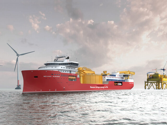 Nexans' new cable laying vessel at an offshore wind farm.
