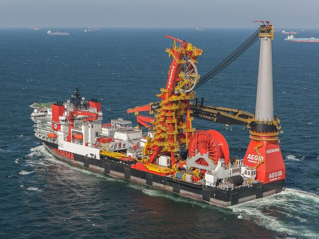 The deepwater construction vessel 'Aegir', a customised version of the ULSTEIN SOC 5000 design, built at the DSME yard in South Korea for Heerema.