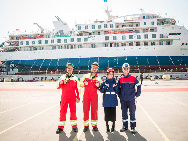 Ulstein site team, here joyously attending the launching ceremony of the first Chinese built expedition cruise vessel at the CMHi yard, and soon ready to perform the inclining test.