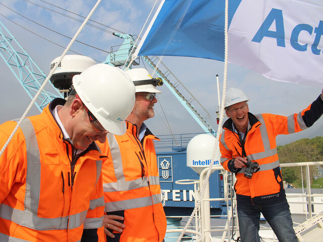 Rob Boer, CEO in Acta Marine (right) and his team celebrating the newcomer in their fleet.