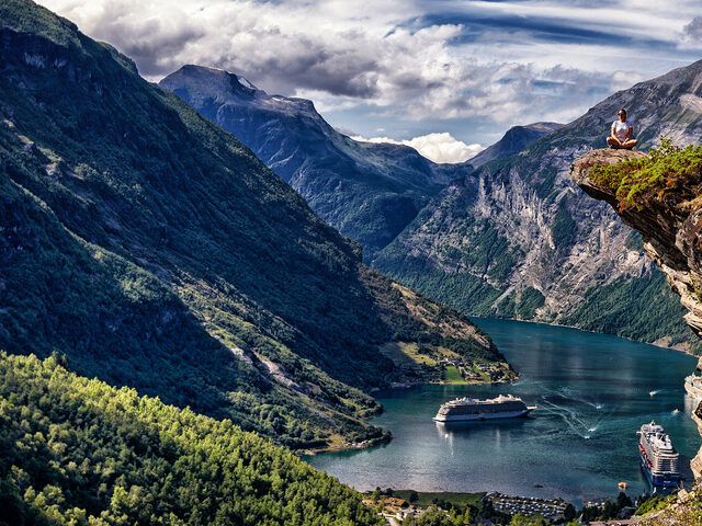 A Geiranger view, this Norwegian UNESCO fjord is much visited by cruise vessels.