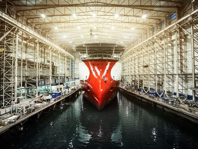 The subsea vessel 'Polar Onyx' in the dock hall at Ulstein Verft, photo by Marius Beck Dahle.