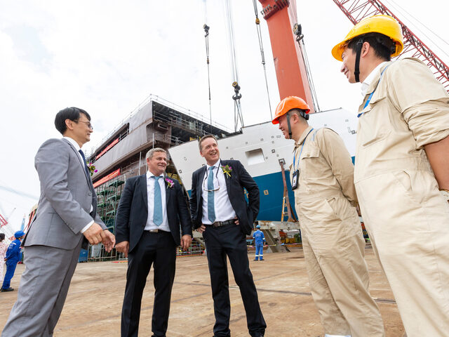 Ulstein representatives from China and Norway at the keel laying ceremony for Ocean Victory.