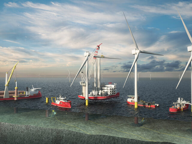 Five stages in the lifecycle of an offshore wind farm.