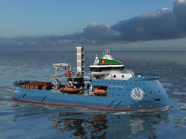 Designer's illustration of the Yno 315 Offshore Wind Vessel.