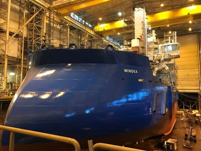Windea TBN in the dock hall at Ulstein Verft.