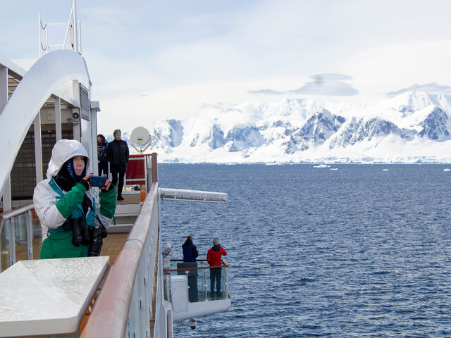 With observation wings for the passengers, it is possible to get views from an angle outside the ship's side, here on the 'Greg Mortimer'. Photo by Kristian Yksnøy.