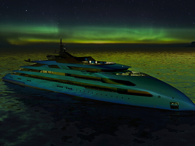 An ULSTEIN CX123 yacht under the Aurora Borealis