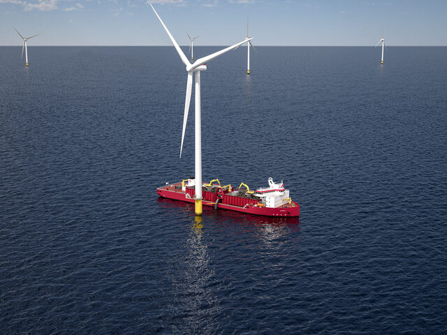 The Ulstein designed GLDD subsea rock installation vessel for US offshore wind.