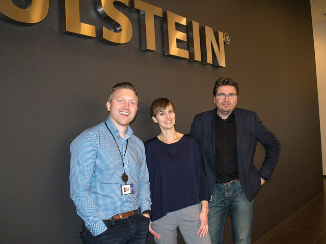 Trond Skodjevåg Bø (Sales Manager Ulstein Verft), Ann Katrin Barstad (Naval Architect Ulstein Design & Solutions AS) and Kristian Sætre (Managing Director Ulstein Verft).