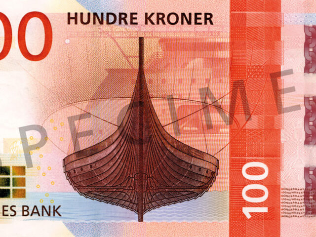 The Metric System's winner concept of the next 100 krone note, showing the Gokstad viking ship and the X-BOW hull line design from Ulstein.