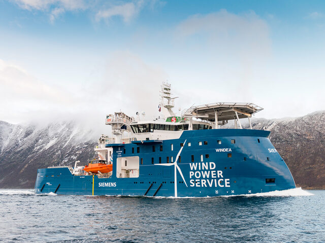Windea Leibniz, yno 310 from Ulstein Verft, a Service Operation Vessel for the offshore wind industry. (photo: Per Eide Studio)
