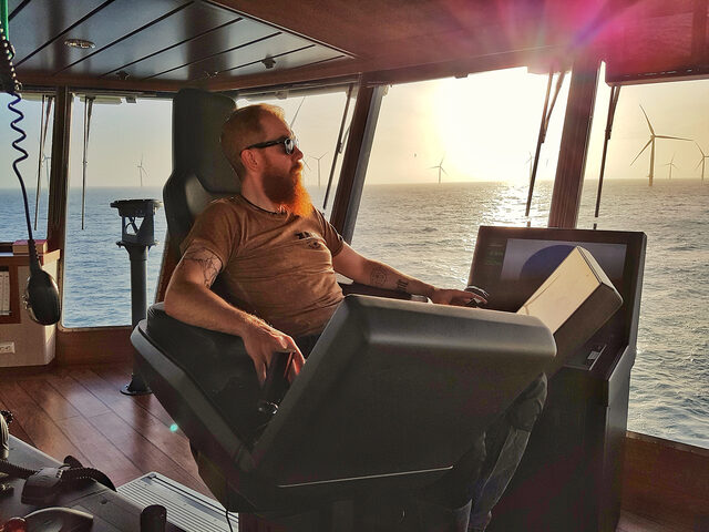 Enjoying the silence: Hard rock vocalist, and senior DP Operator, Matthias Giebichenstein on the SOV vessel Windea La Cour.