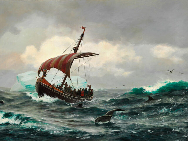 Viking Explorers off the coast of Greenland, a 19th century painting by Carl Rasmussen.
