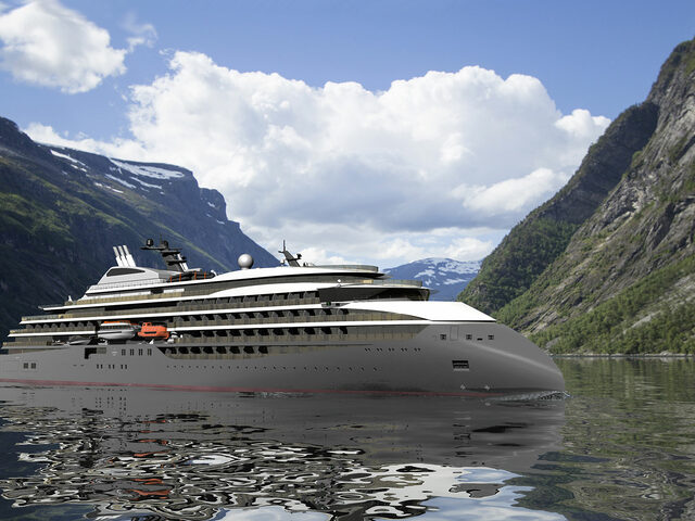 A CX111 exploration cruise vessel, here seen in the Geiranger fjord.