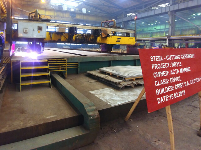 Steel cutting of the second CSV for Acta Marine built at Ulstein Verft.