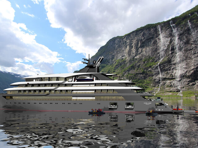 A C113 cruise ship design in the Geiranger fjord.
