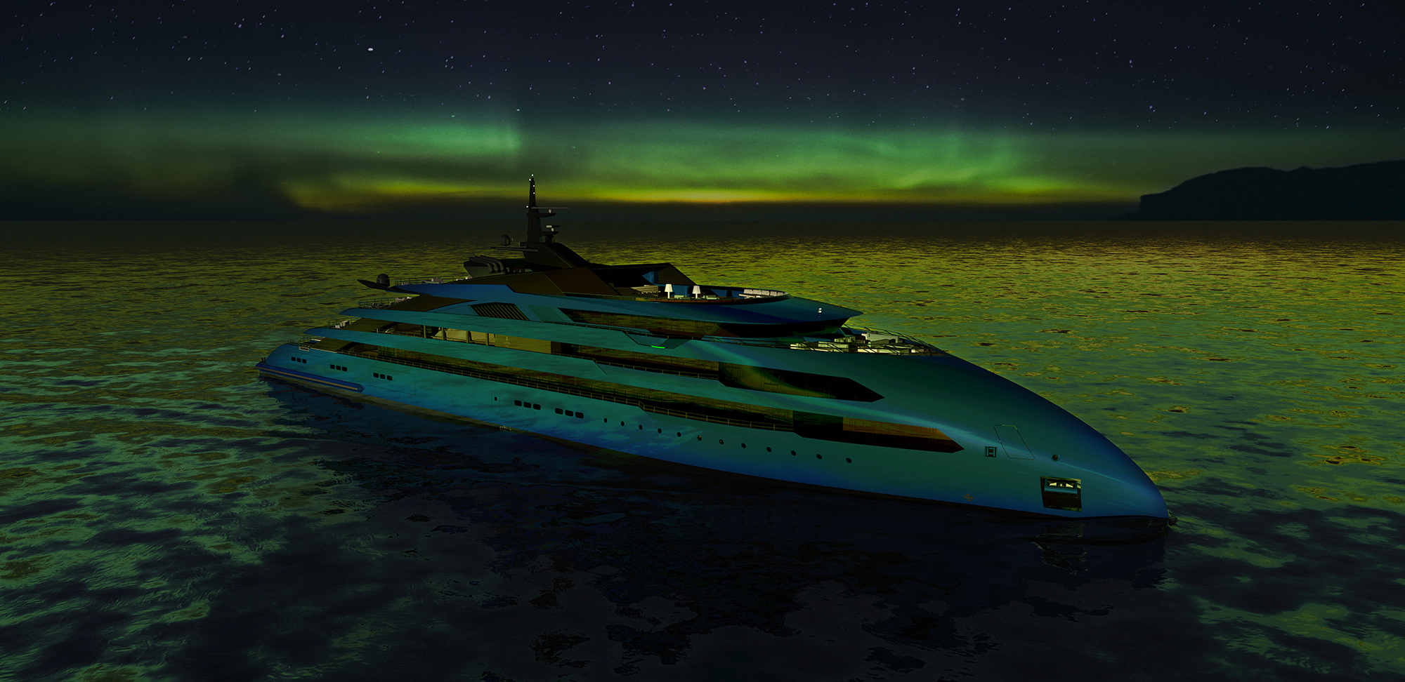 An ULSTEIN CX123 yacht under the Aurora Borealis.