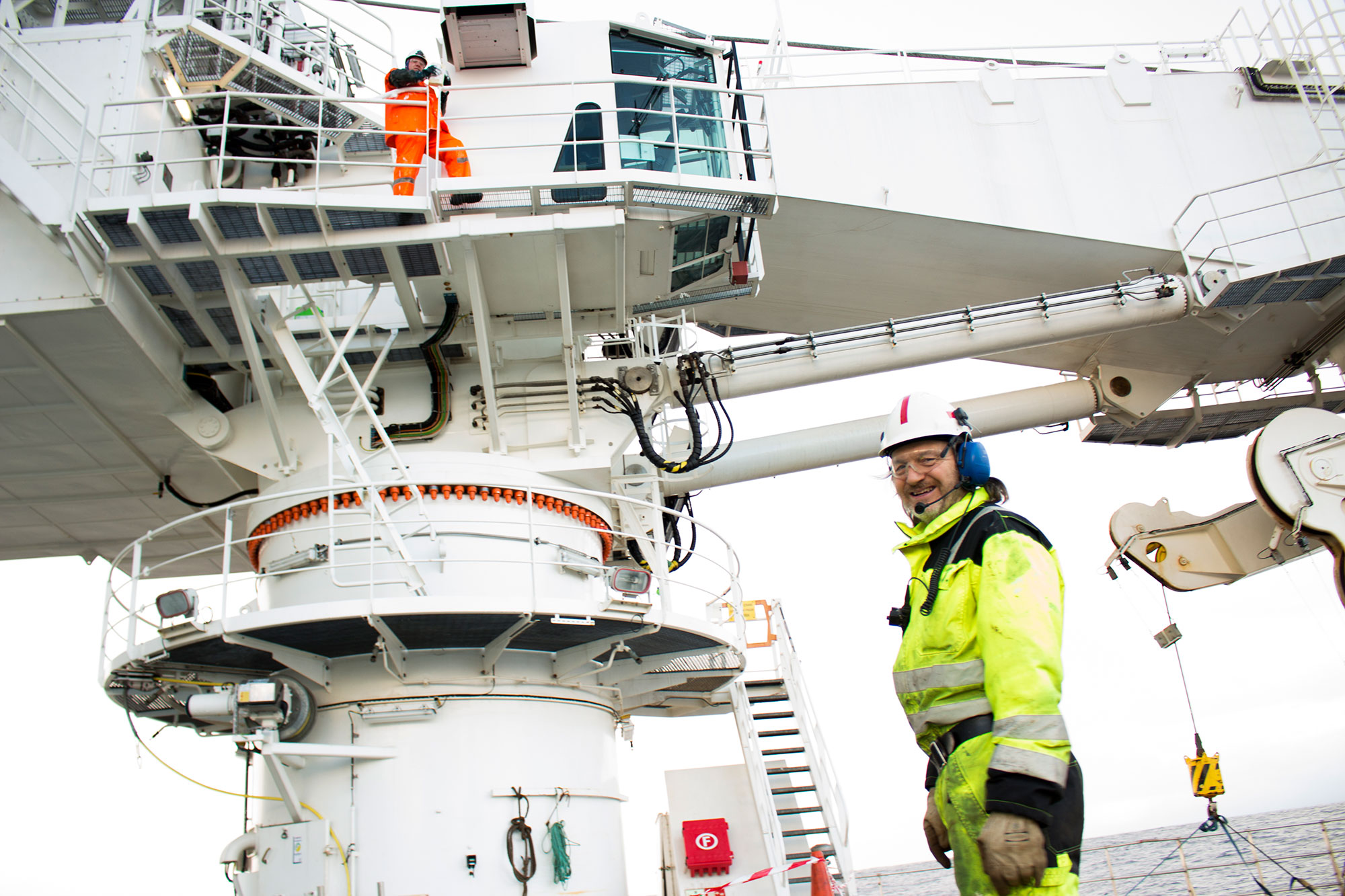 Crane maintenance on the subsea vessel 'Seven Viking' in the North Sea.