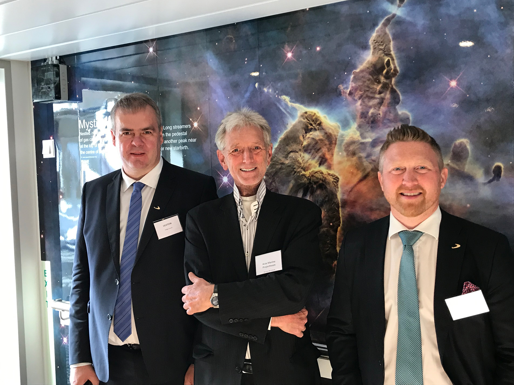 Acta Marine's Jan van der Schaft together with Ulstein Verft's Helge Torvik (left) and Trond S. Bø (right).