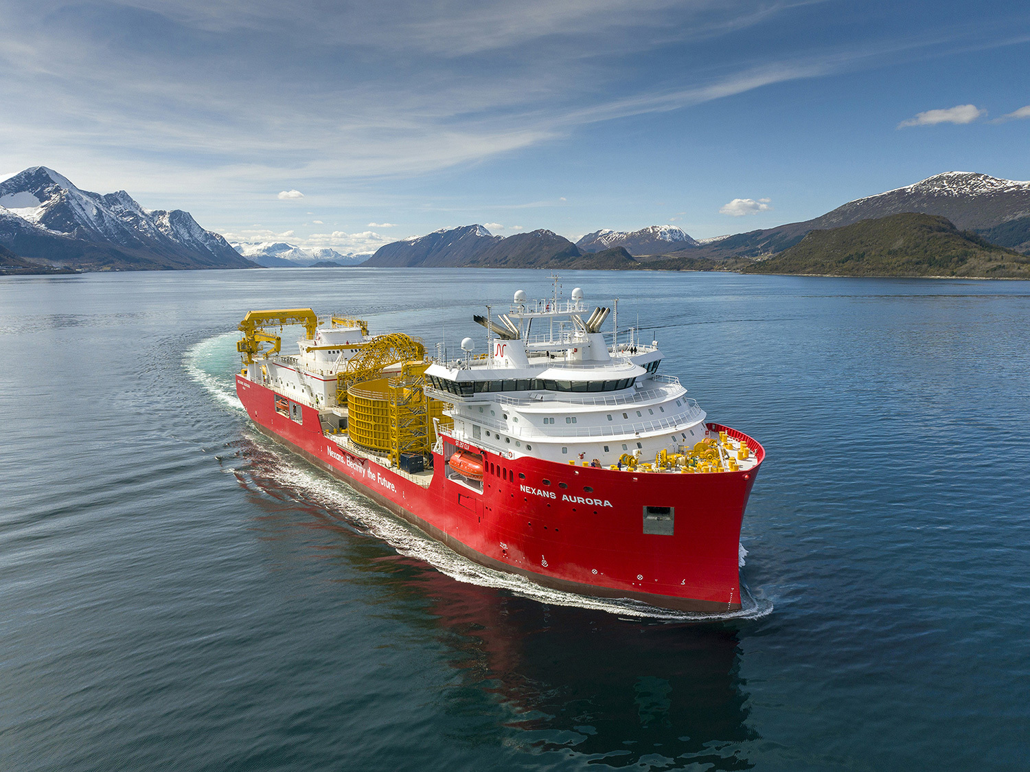 'Nexans Aurora' is a state-of-the-art cable-laying vessel for electrification of the future and is equipped with state-of-the-art equipment for transport and laying of cable and umbilical, including bundling, cable protection and splicing. Photo: Per Eide Studio.