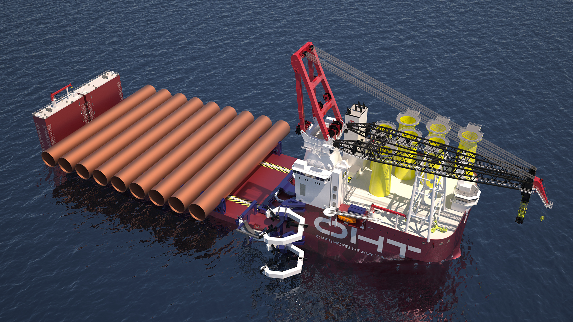 The 216-metre long vessel features a 3000-tonne crane and will load out 10 Dogger Bank monopiles and 10 transition pieces for installation at a time