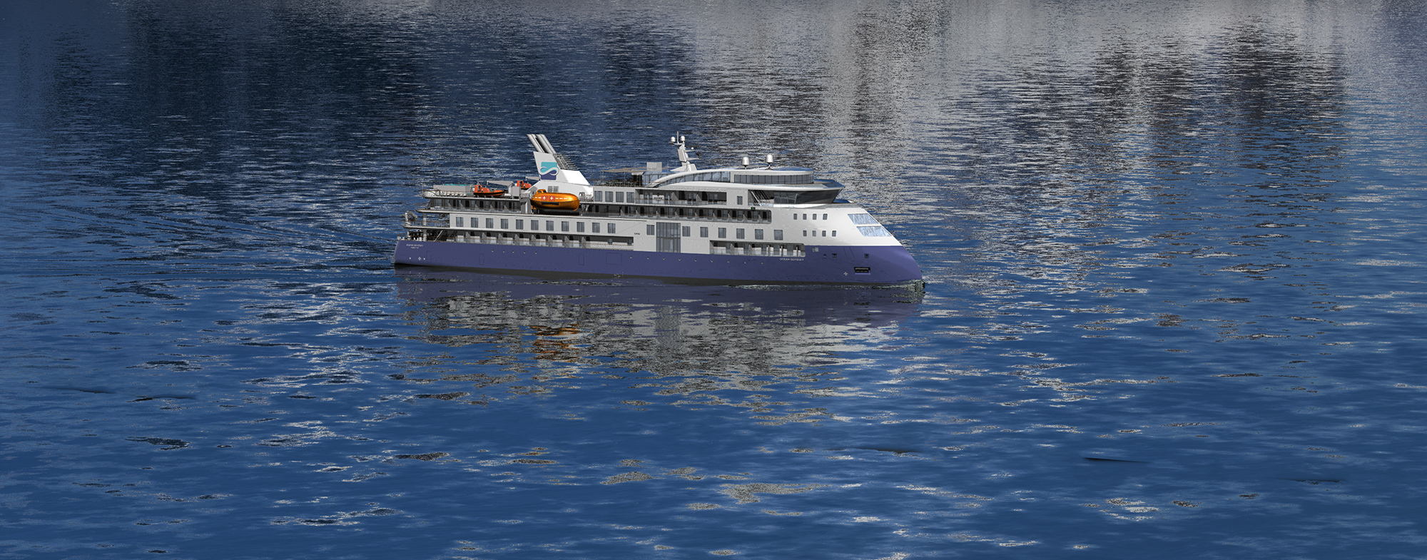 The Ocean Odyssey, an expedition cruise vessel featuring the ULSTEIN X-BOW.
