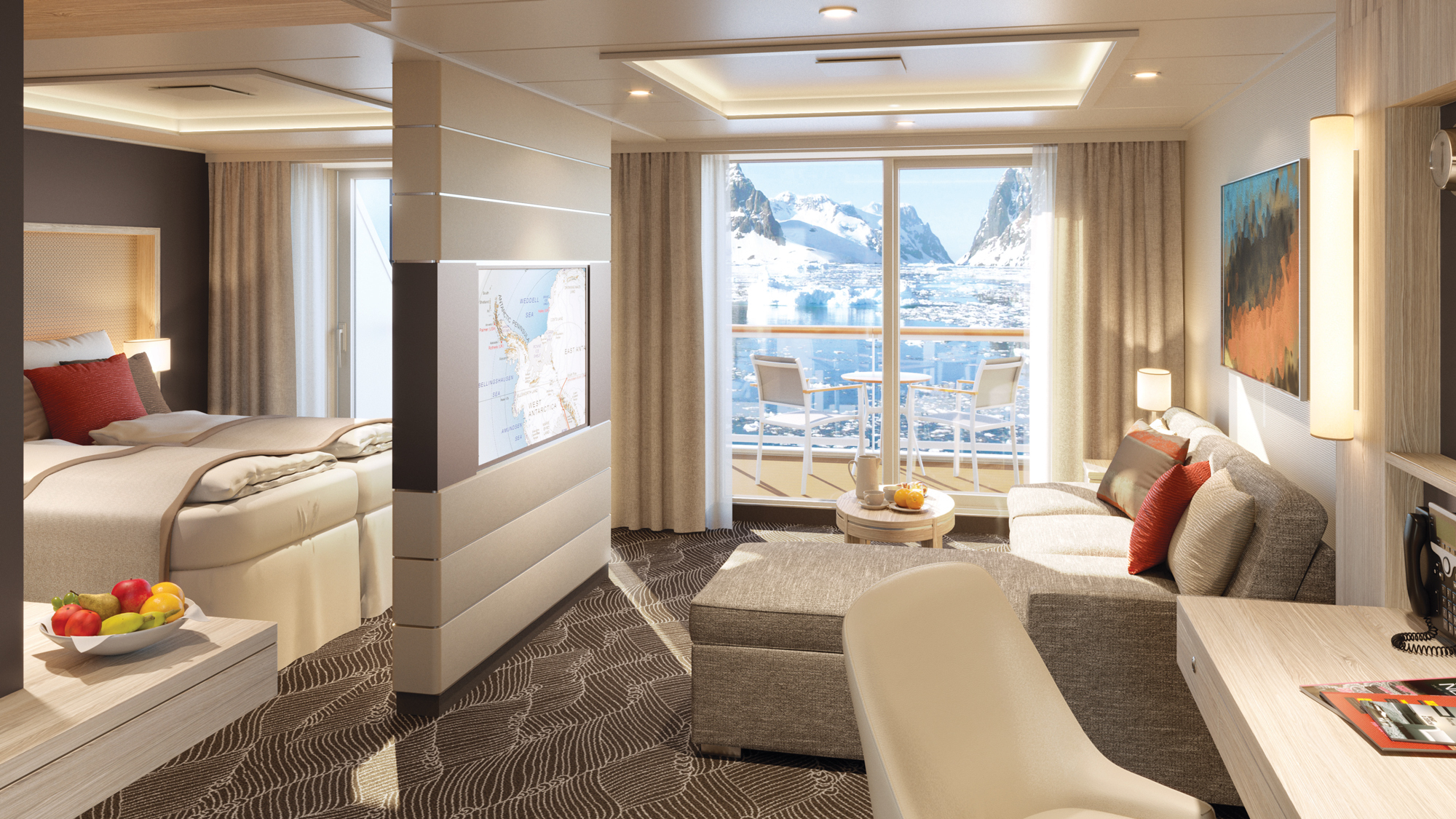 One of the suites on the Lindblad vessels.