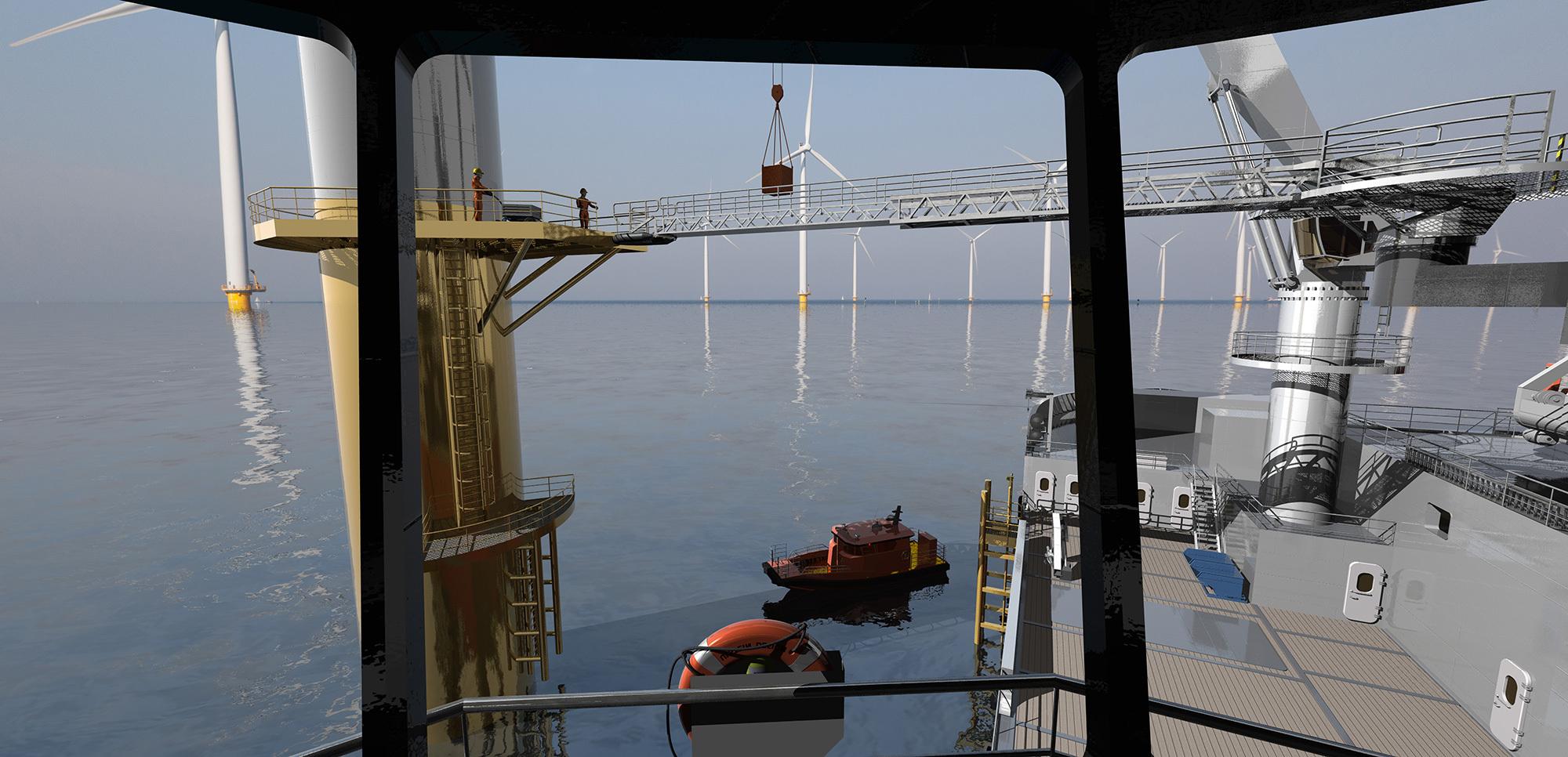 Bridge view of a TWIN-X-STERN™ vessel servicing an offshore wind turbine.