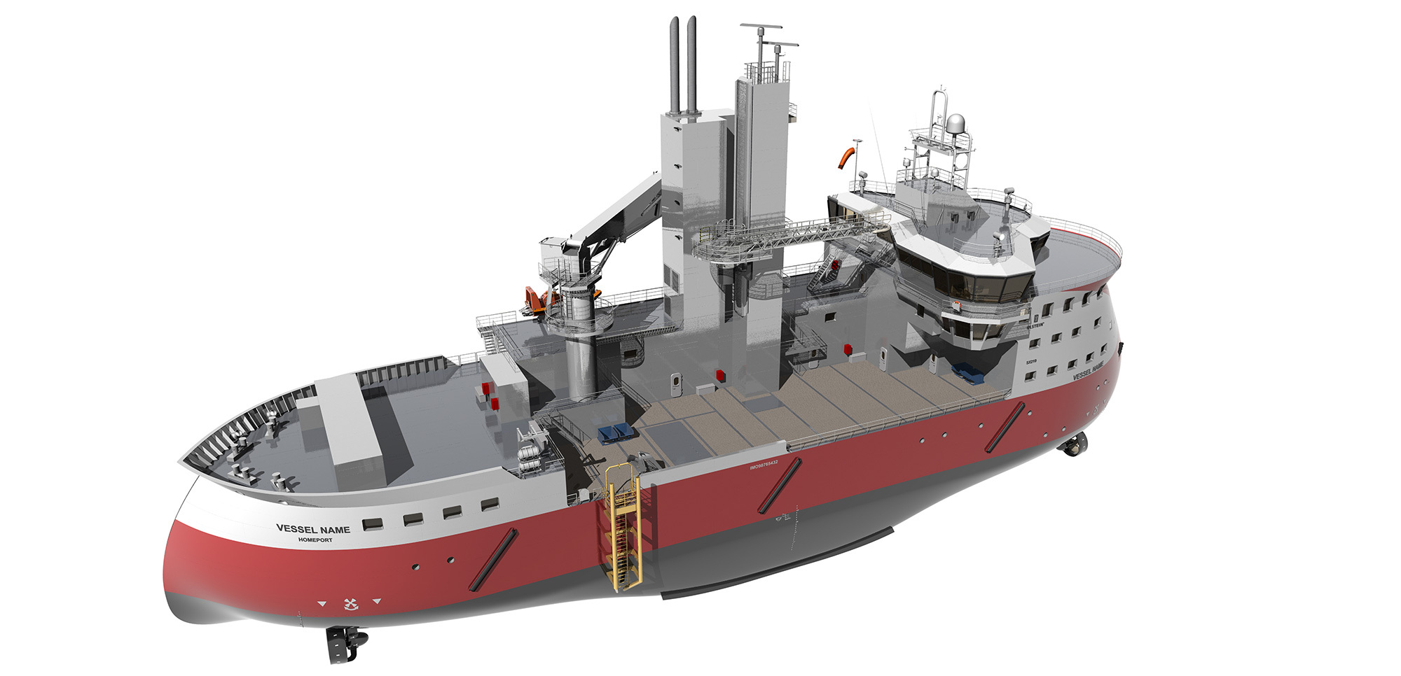 Ulstein's SX210 design for service and maintenance of offshore wind turbines incorporates the TWIN X-STERN™ hull design.