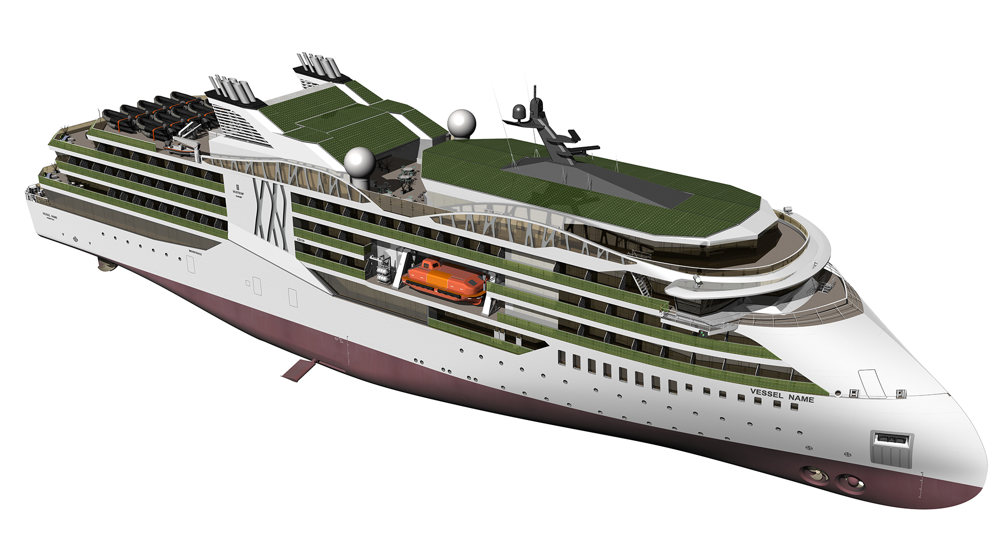 Example of solar panelling on an Ulstein cruise vessel design.