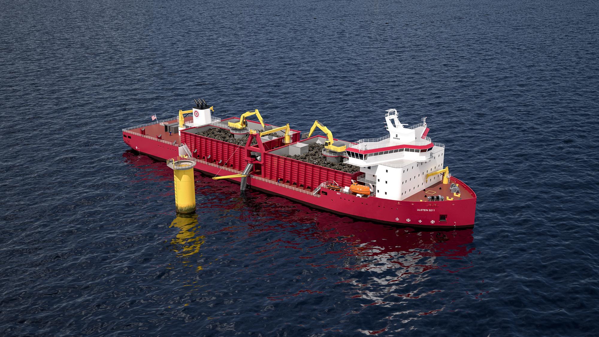 Steininstallasjonsskipet skal legge eit beskyttande lag med stein på fundamenta til havvindturbinane ved hjelp av eit rør som går skrått ned mot havbotnen.