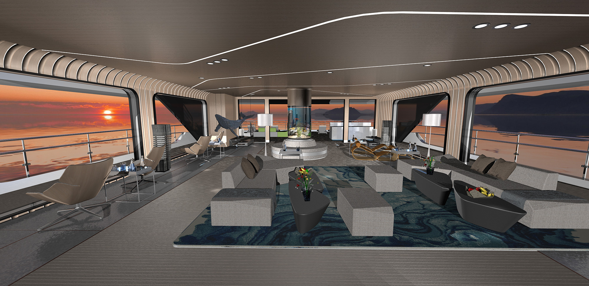 Example of the upper deck lounge on our smallest-sized yacht, the ULSTEIN CX128, designer's choice of interiors.